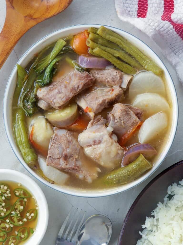pork sinigang in a serving bowl