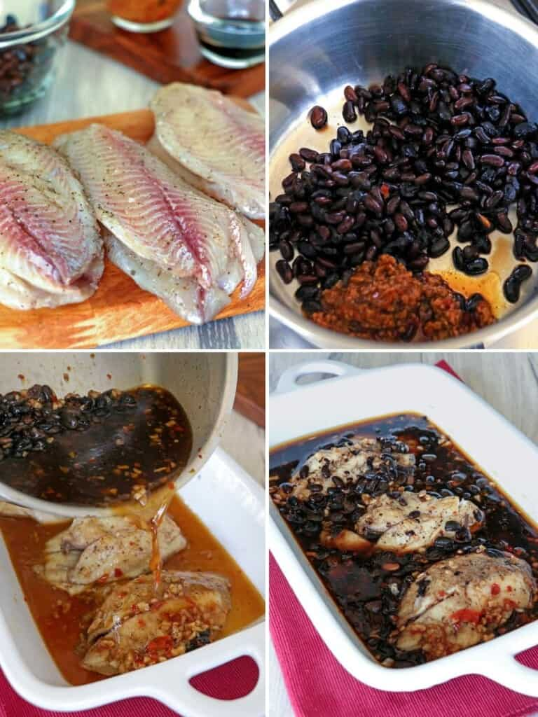 preparing tilapia with black beans and garlic sauce to bake
