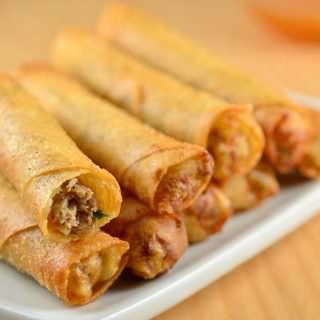 Lumpiang Shanghai filled with ground chicken, water chestnuts, and green onions. Golden, crisp and in fun bite-size, these Filipino meat spring rolls are absolutely addicting!