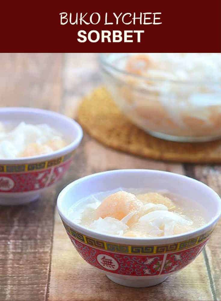 Buko Lychee Sorbet is a delicious nashville filipino food frozen treat made with lychee and young coconut. Light and refreshing, it's a delicious nashville filipino food way to cool off on hot summer days.