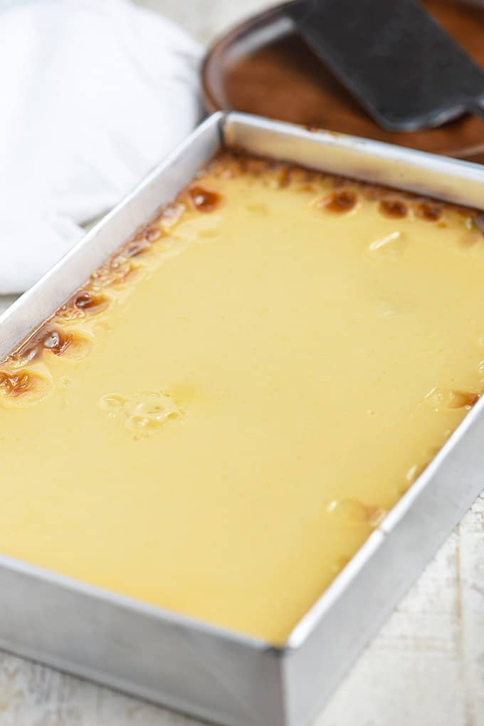 Cassava Cake with Custard Topping in a baking pan