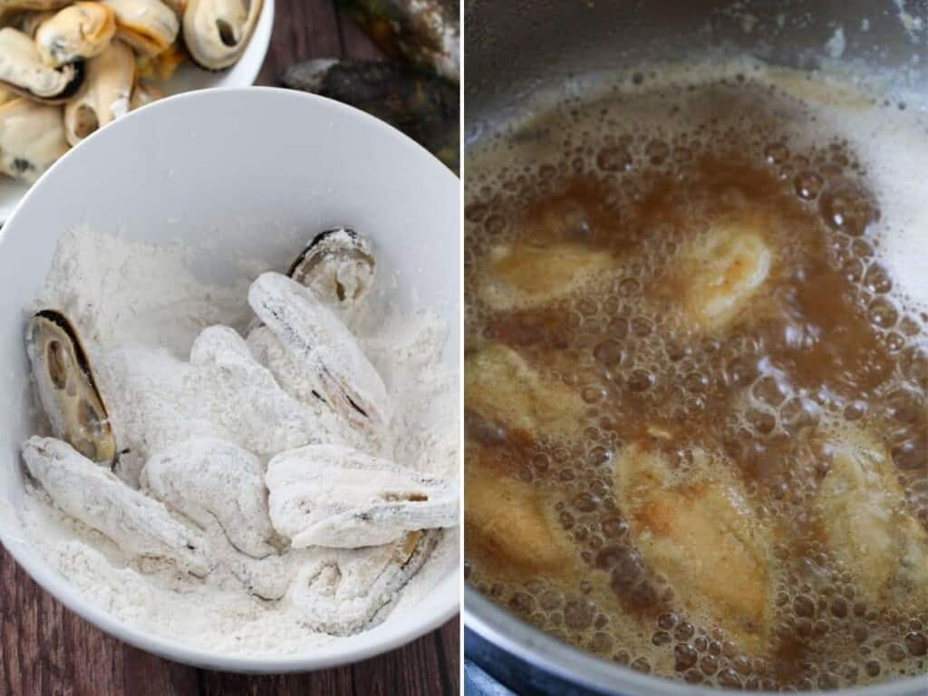 coating the mussels in flour and deep-frying in oil