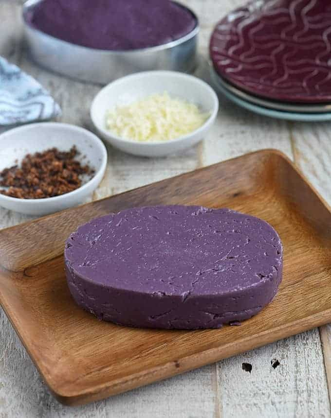 Halayang Ube on a wooden platter