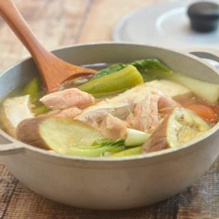Sinigang na Salmon Belly sa Kamias with flavorful fish belly and vegetables in a sour soup is the perfect cold weather comfort food. Delicious served with steamed rice or enjoyed on its own!