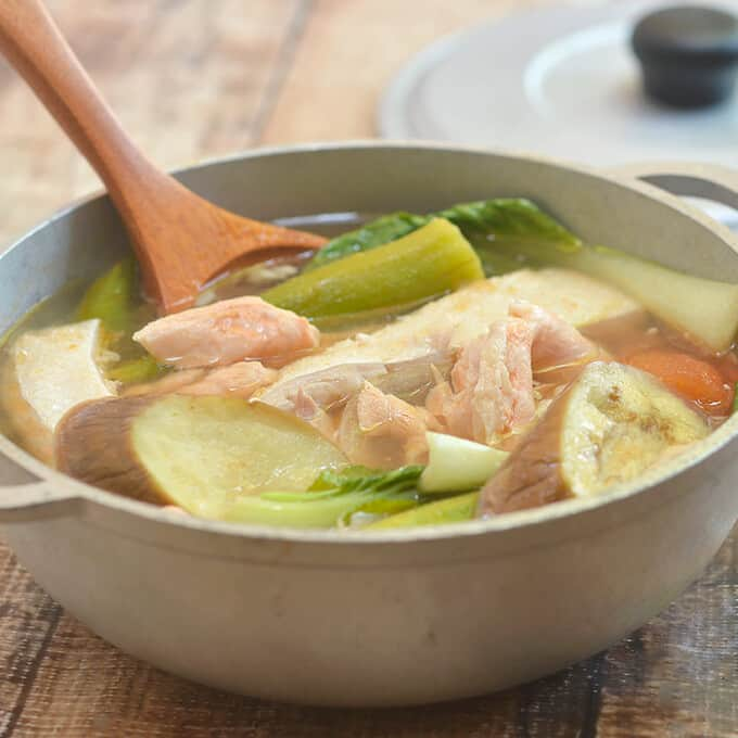 Sinigang na Salmon Belly sa Kamias with flavorfulfish belly and vegetables in a sour soup is the perfect cold weather comfort food. Delicious served with steamed rice or enjoyed on its own!