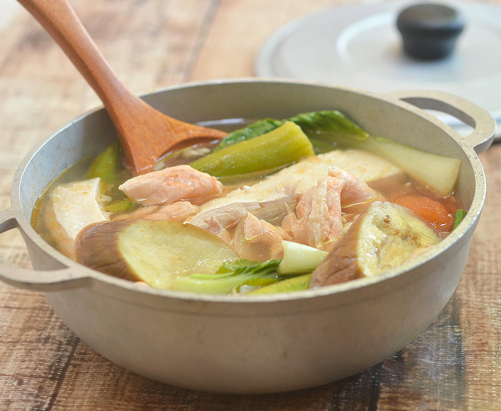 Sinigang na Salmon Belly sa Kamias with flavorful fish belly and vegetables in a sour soup is the perfect cold weather comfort food.