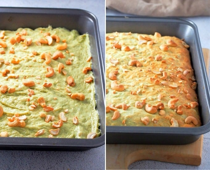 banana pandan bread baked in an aluminum pan