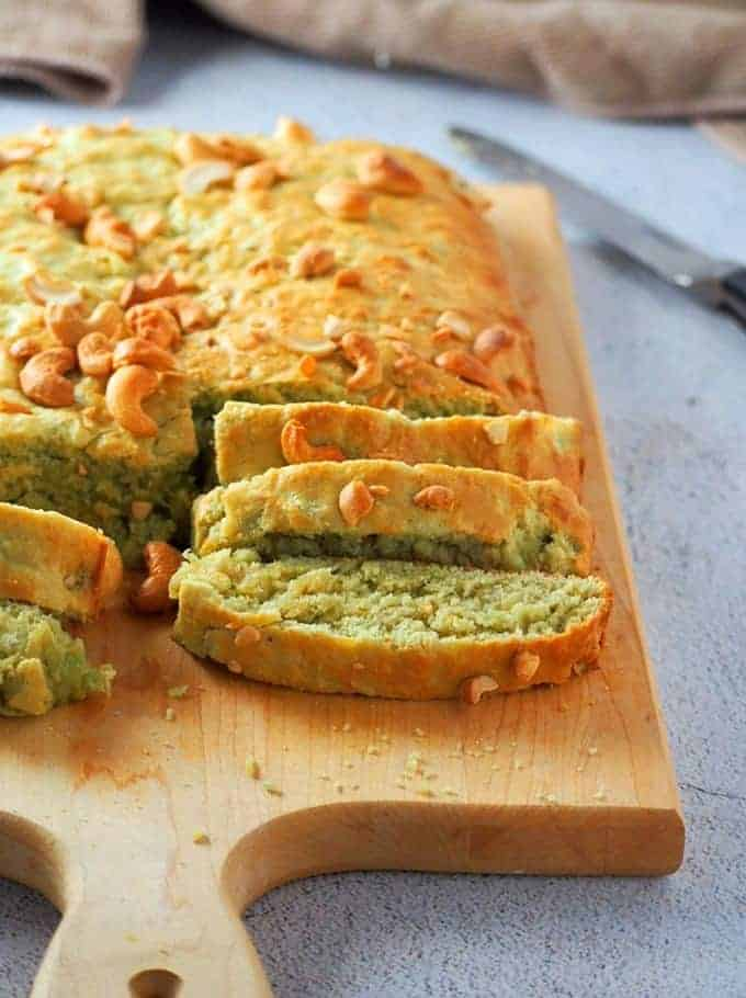 Banana Pandan Bread on a cutting board