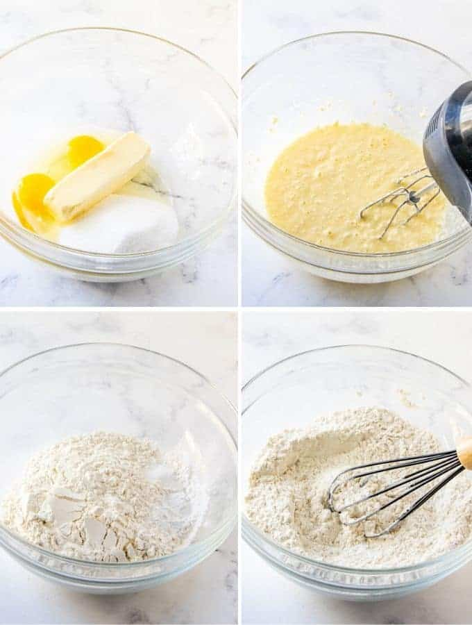 beating sugar, butter, and eggs, and whisking together flour mixture