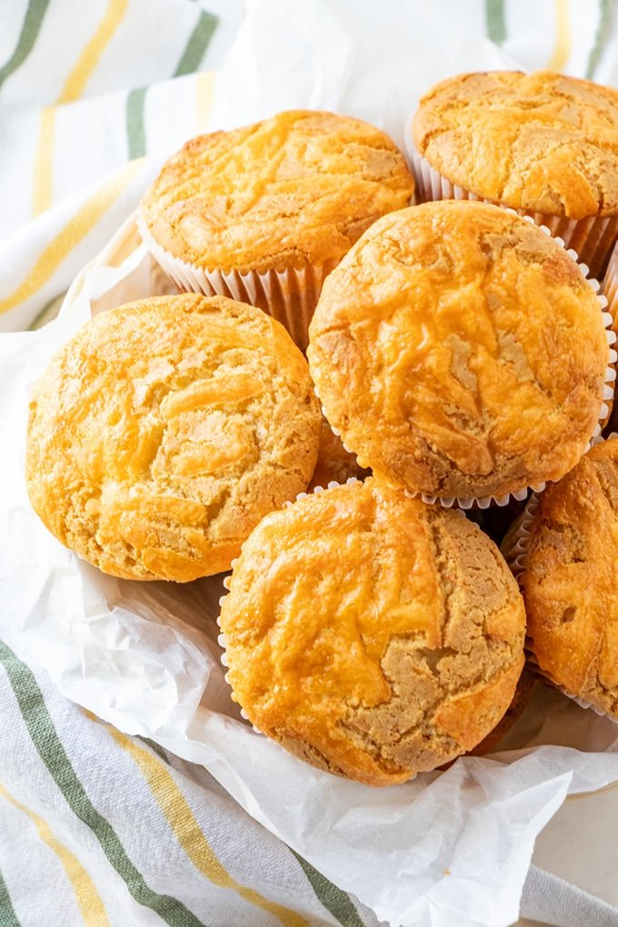 cheese cupcakes in a basket