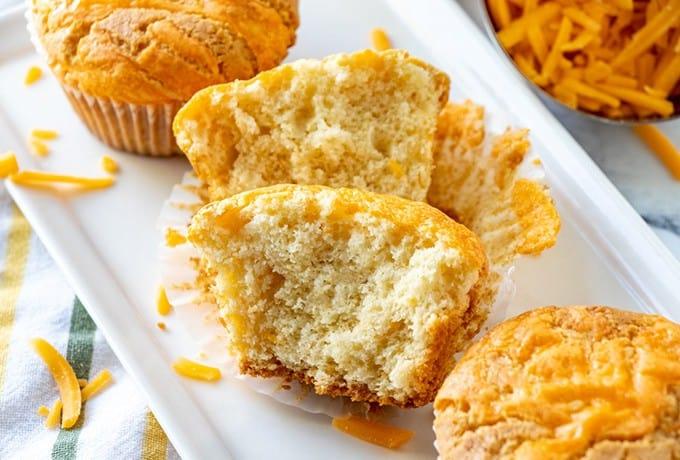 split cupcake on a platter