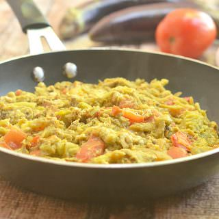 Poqui Poqui is a vegetable dish made with roasted eggplant, tomatoes, and eggs. A simple dish with basic ingredients and quick prep type, it makes a great meatless breakfast or dinner meal.