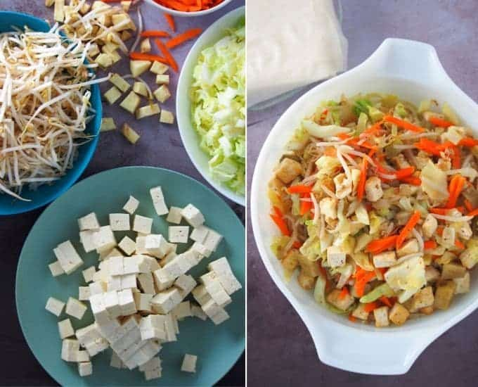 "sautéed tofu and vegetable filling for lumpia in a white bowl ""width ="" 680 ""height ="" 550 ""data-pin-description ="" Lumpiang Gulay is tasty snack or appetizer that the whole family will love. Filled with tofu and vegetables, these crispy spring rolls are nutritious as they are delicious! ""Data-pin-title ="" Lumpiang Prito"
