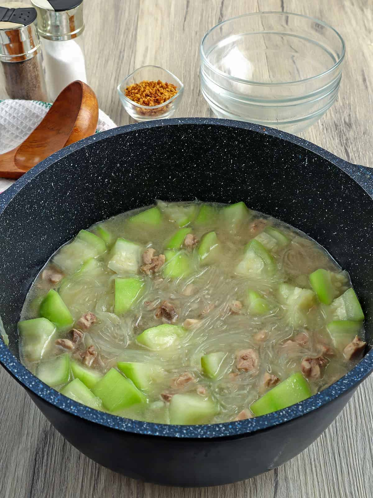 Sotanghon at Upo Soup cooked in a pot