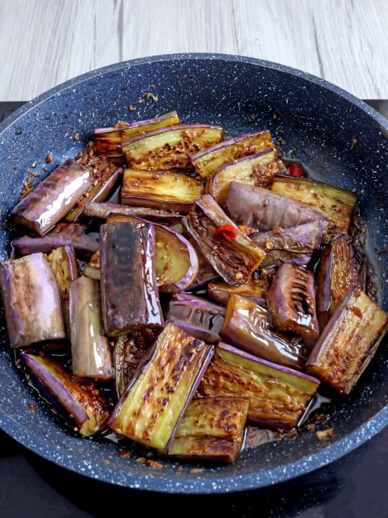 eggplant adobo in a pan