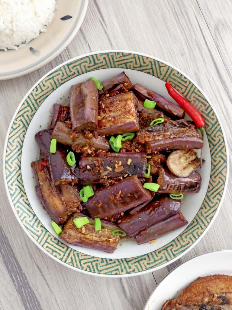 eggplant adobo in a serving bowl