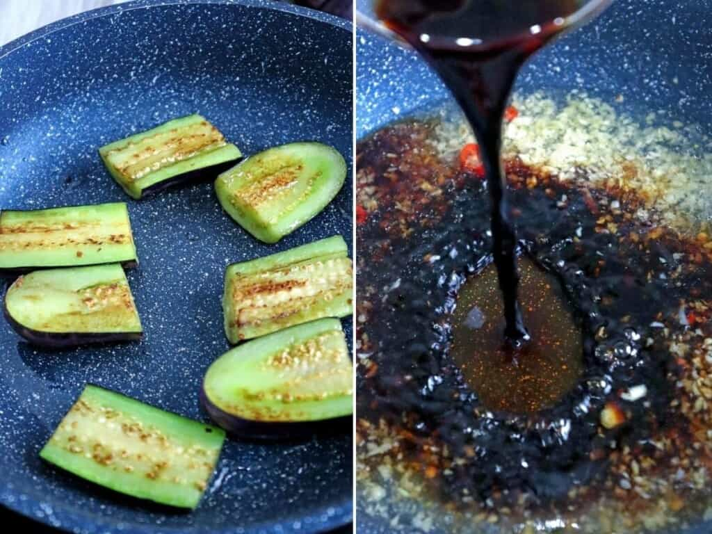 pan-frying egg plant and making adobo marinade in a pan