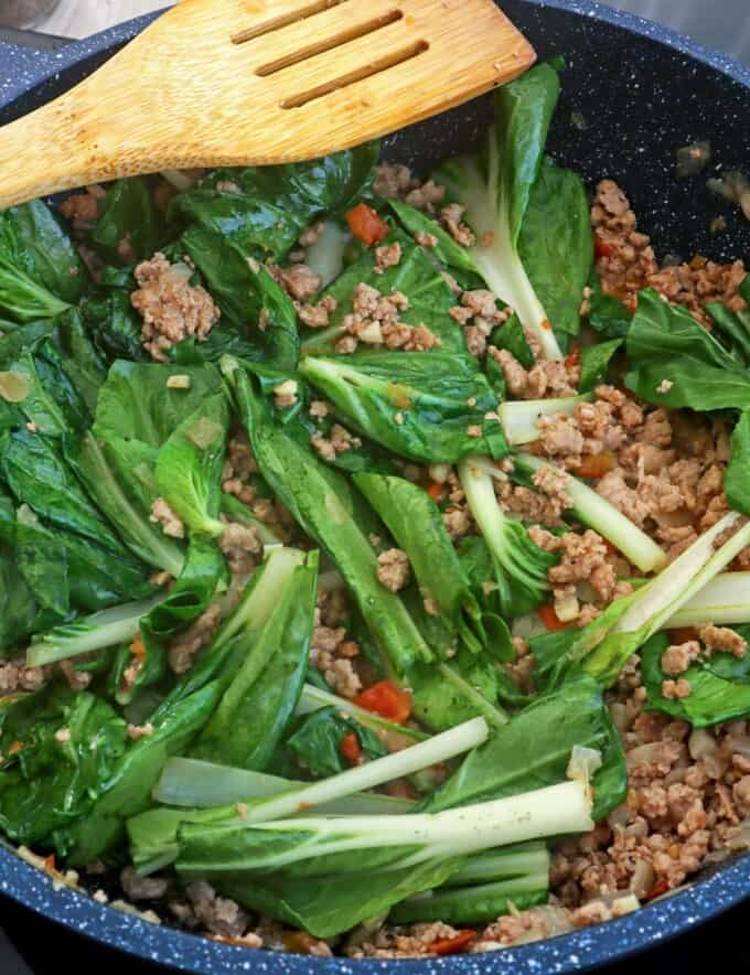 Ginisang Pechay with ground pork in a pan