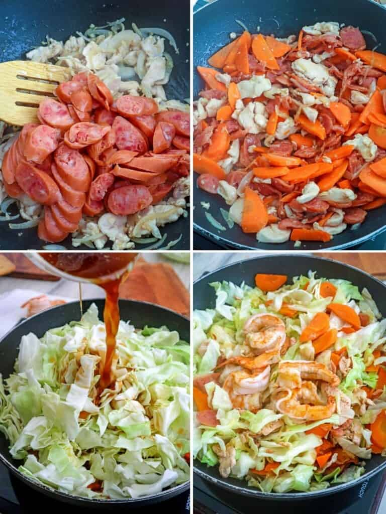 cooking cabbage in a pan with carrots, sausages, chicken, and shrimp