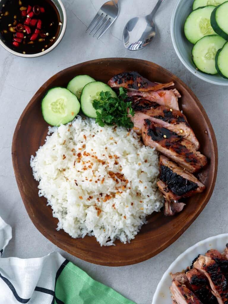 inihaw na tiyan ng tuna on a plate with steamed rice