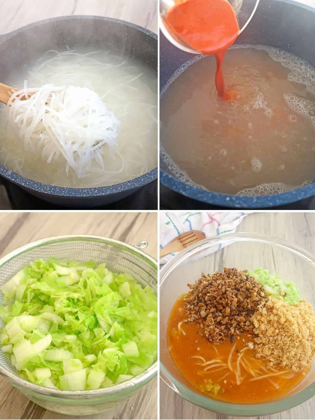 steps on how to make pancit malabon