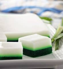 pandan coconut jelly on a white platter