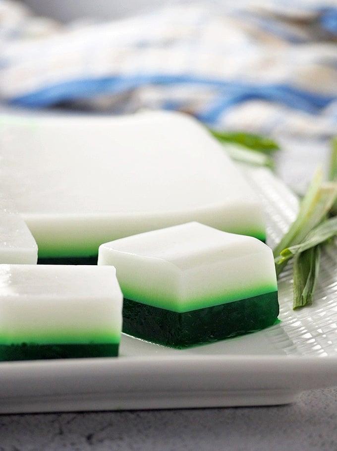 pandan coconut jelly on a white platter