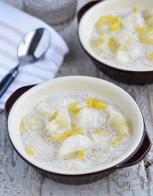 This ginataang kamoteng kahoy is served with tapioca, jackfruit and coconut milk.