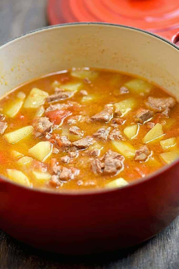 picadillo soup with beef and chayote in a pot