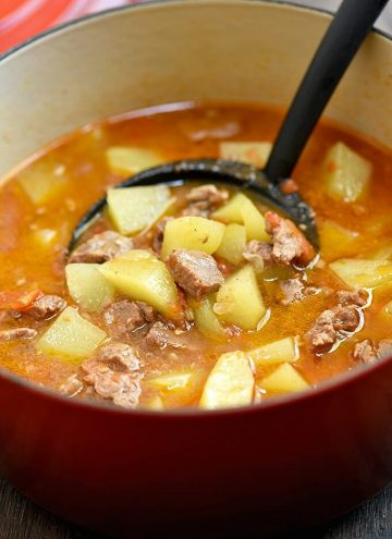 picadillo soup in a red dutch oven