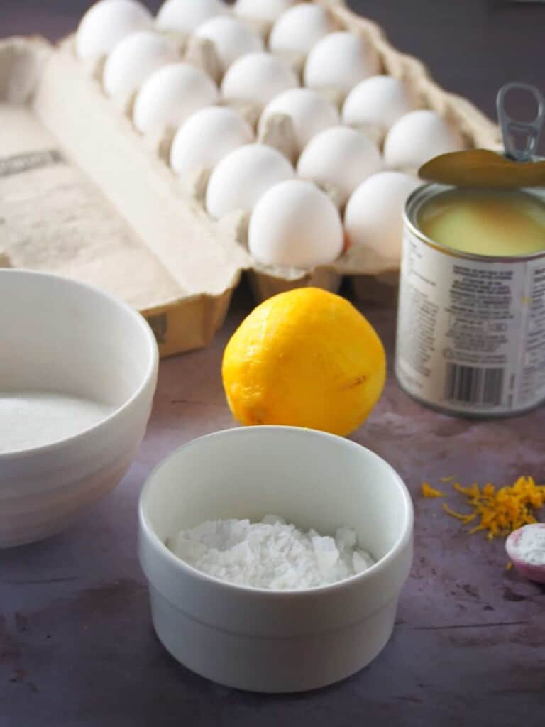 eggs, condensed milk, lemon, sugar