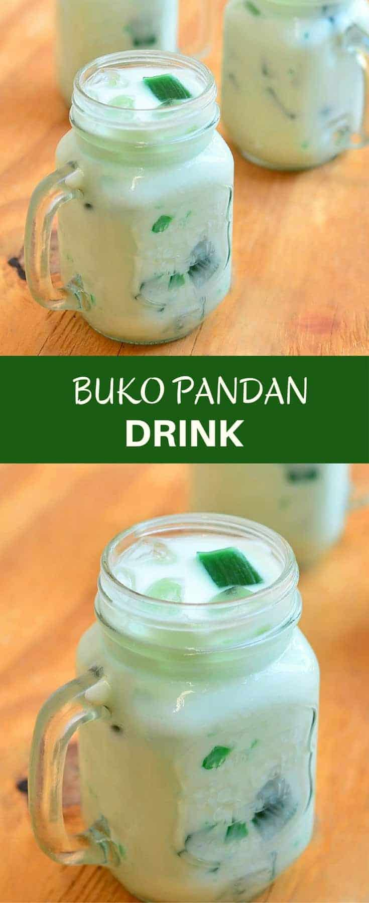 Buko Pandan Drink with pandan gelatin and shredded young coconut in a creamy coconut juice. Refreshing and delicious, this tropical drink is sure to be a crowd pleaser!