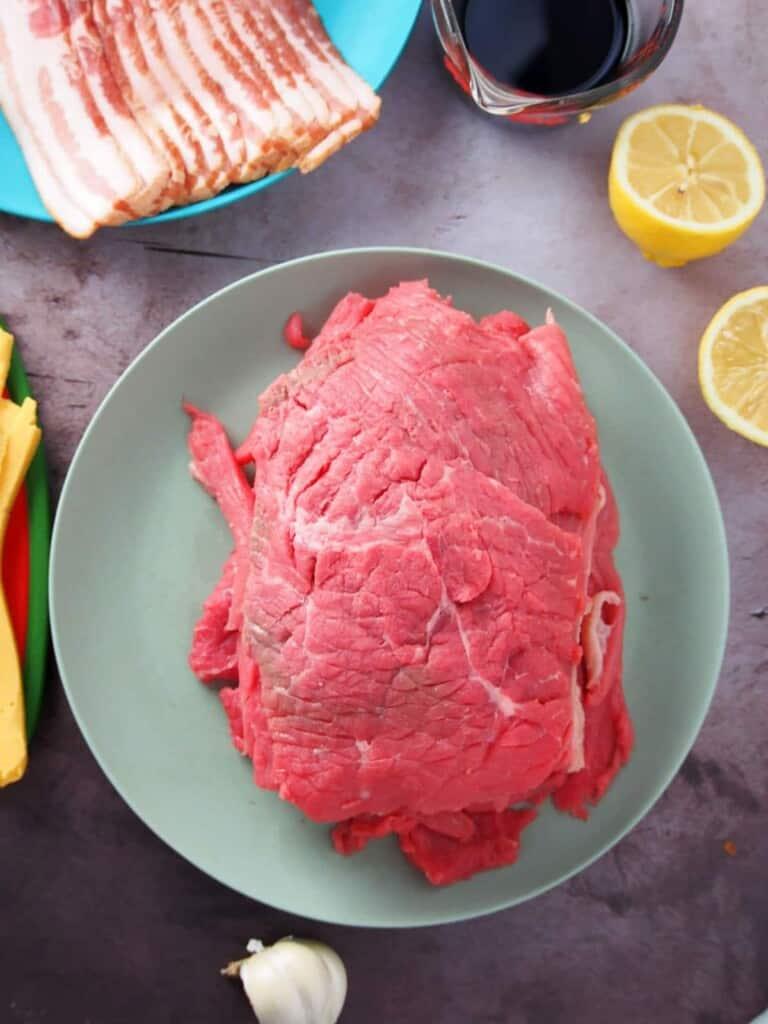 sliced beef, bacon, soy sauce, lemons