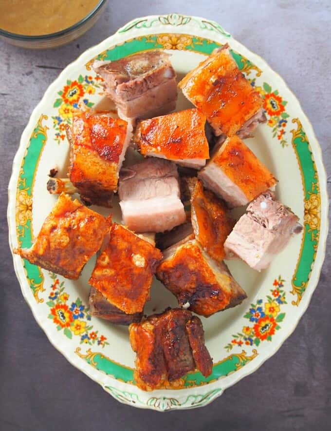 top view of chopped lechon sa hurno on a serving platter
