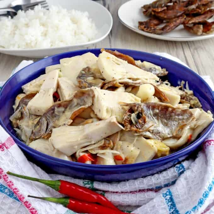 Ginataang Langka with Danggit in a bowl serving bowl