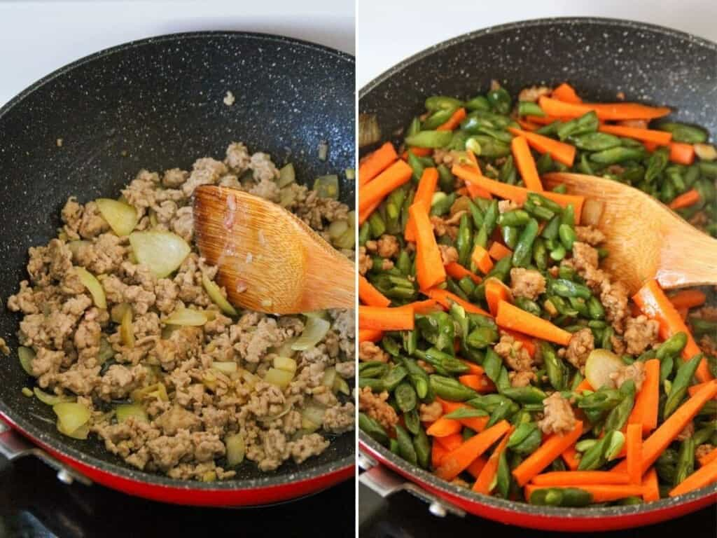 cooking green bean stir-fry with minced pork in a skillet