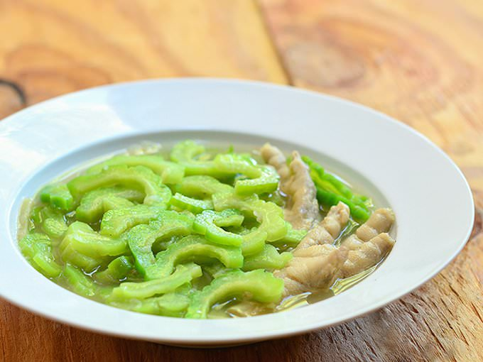 This ampalya dish cooked with chicken feet is served with steamed rice and broth.