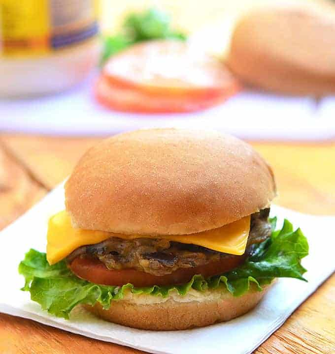Banana Heart Burger made with shredded banana heart, eggs, flour and oyster sauce. Super moist and tasty, this vegetarian burger is a delicious and nutritious alternative to beef patties.