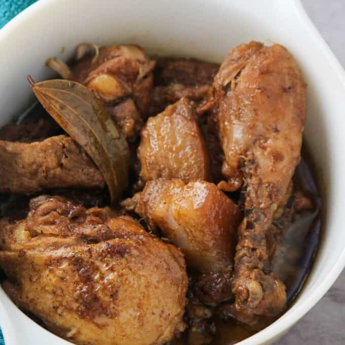 Chicken and Pork Adobo in a serving bowl