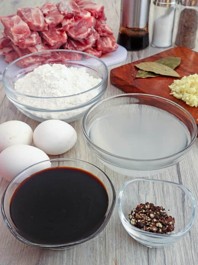 baby back ribs, vinegar, eggs, soy sauce, garlic, bay leaves, pepper corns