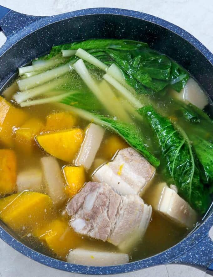 pork nilaga in a casserole pot