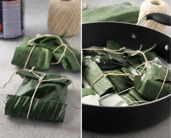 pinais na hipon wrapped in banana leaves and cooked in coconut milk