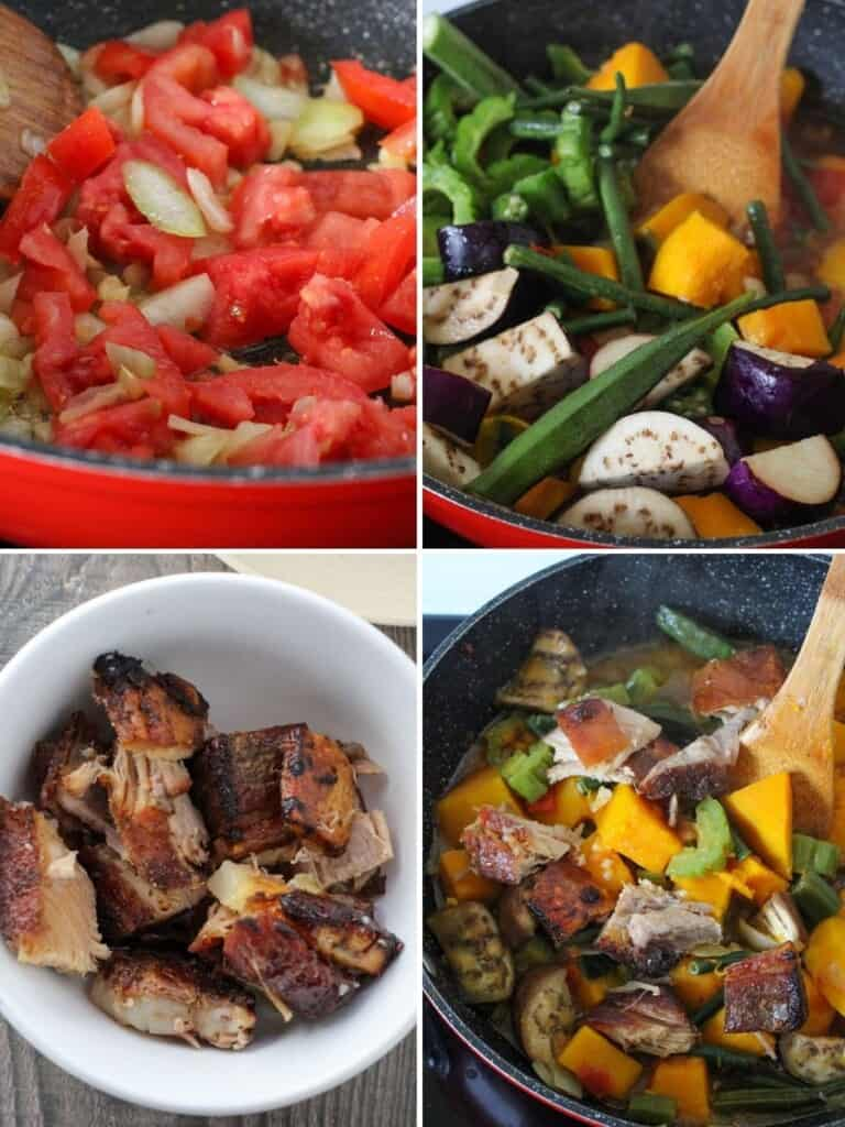 cooking pinakbet with crispy lechon in a pan