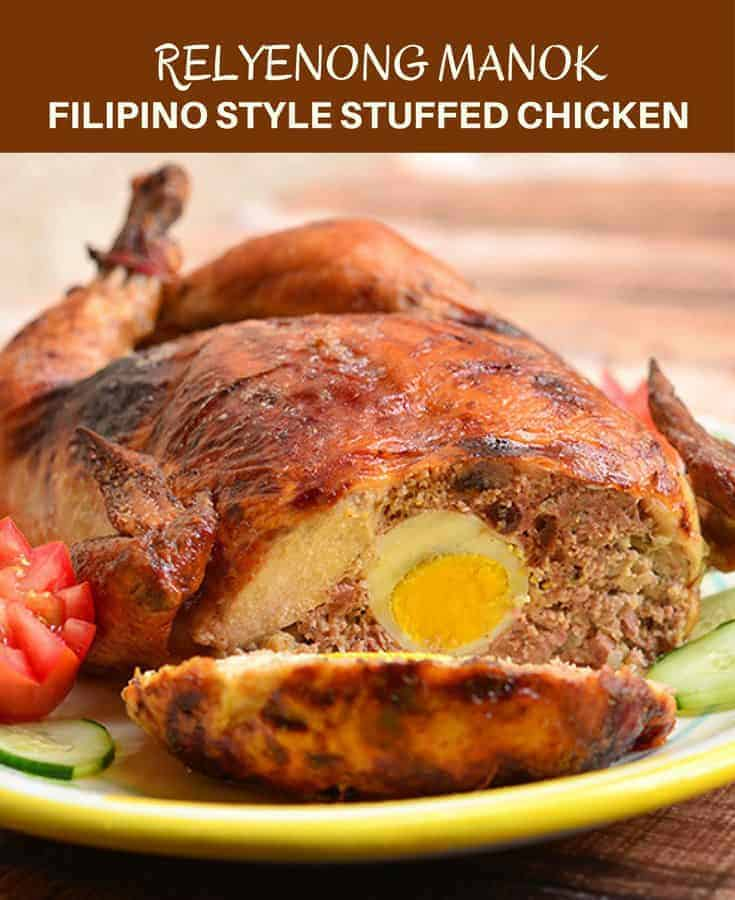 Rellenong Manok is a deboned whole chicken stuffed with a meat mixture and then baked until golden crisp. Impressive as it's delicious, it's the perfect dinner entree your guests will be raving about!