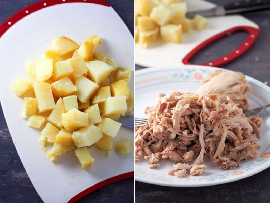 cubed potatoes and shredded chicken