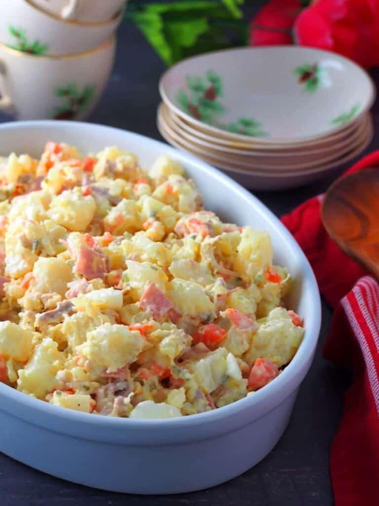 Chicken Potato Salad in a white oblong casserole dish