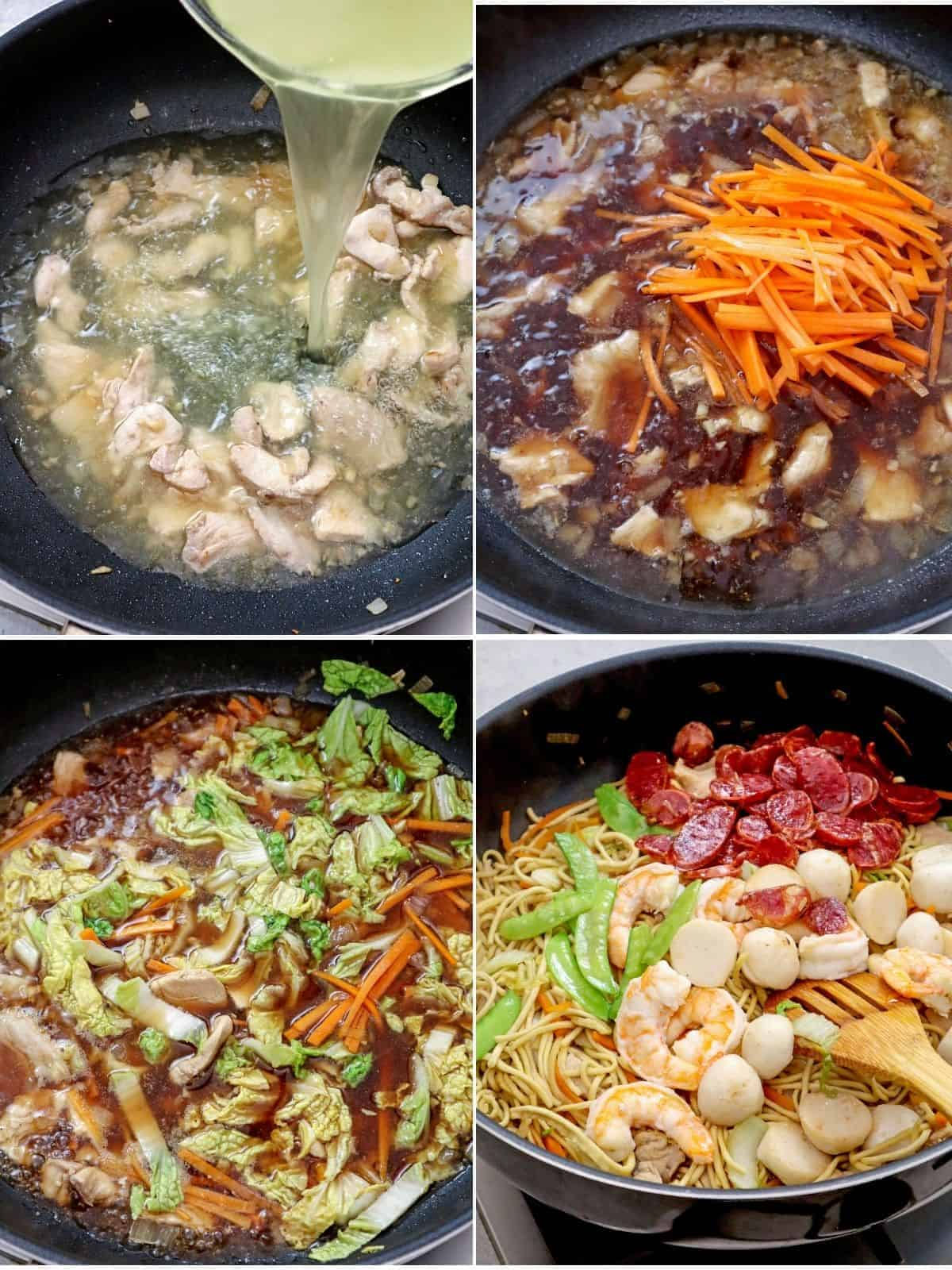 cooking pancit canton in a wide pan