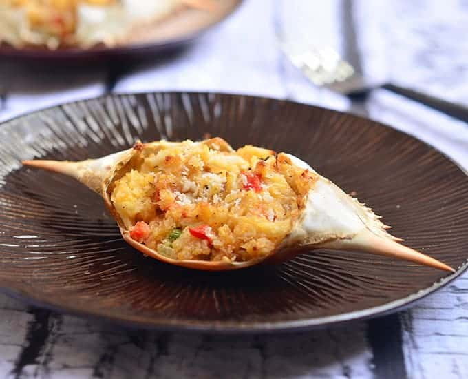 Rellenong Alimango - stuffed crab with peppers