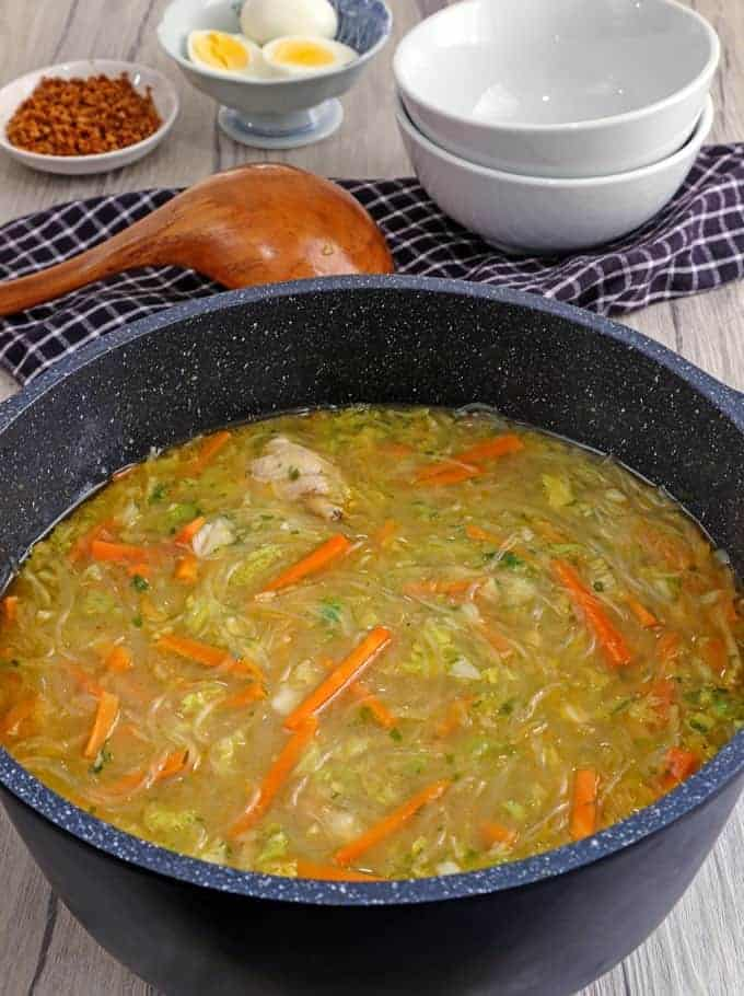 pot of chicken sotanghon soup