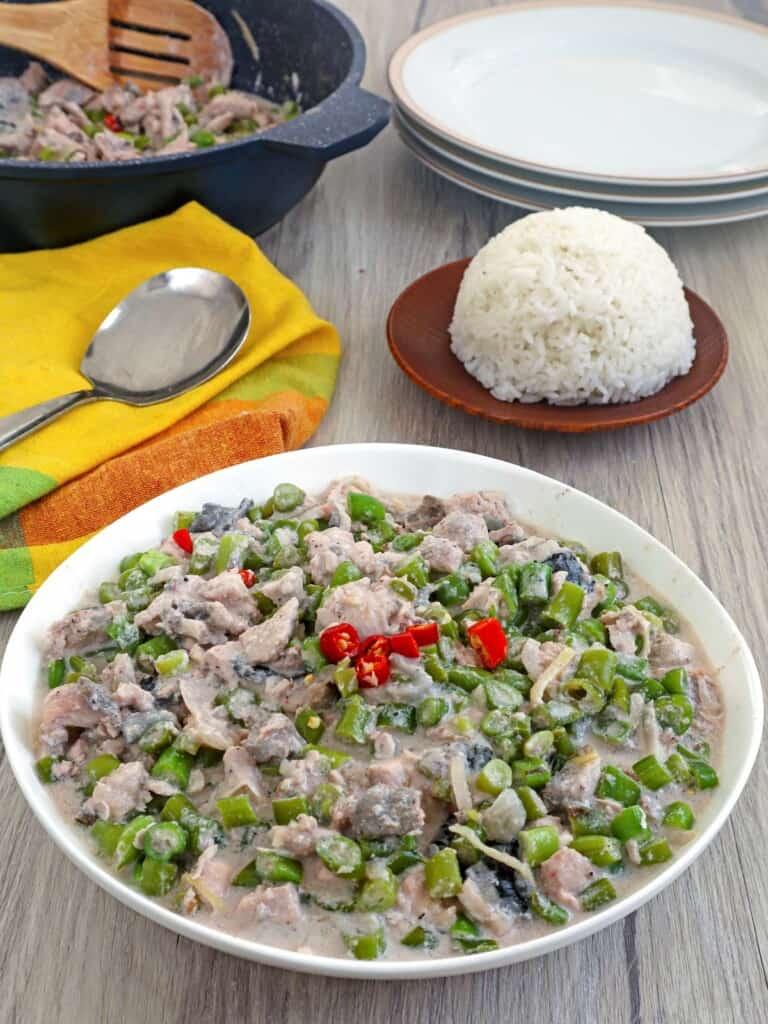 Gising Gising with Bangus in a serving bowl with steamed rice on the side
